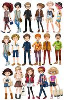 Hipster pessoas em roupas da moda vetor