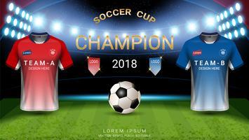 Templat do copo do futebol do campeonato mundial, conceito partida-vencedor final.