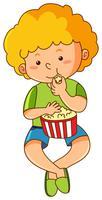 Garotinho comendo pipoca vetor