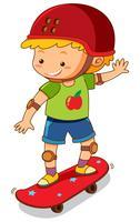 Rapaz pequeno no skate vermelho vetor