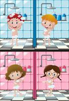 Quatro crianças tomando banho no banheiro vetor