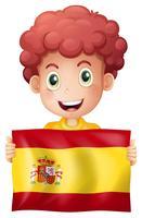 Um, menino, com, bandeira espanhola vetor