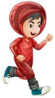 Menino, em, vermelho, raincoat, executando vetor