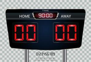 Placar de cronometragem digital, futebol de esporte e jogo de futebol Casa Versus Fora.