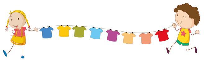 Crianças segurando as pontas do fio para as roupas penduradas vetor