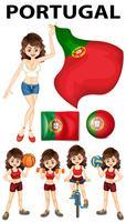 Bandeira de Portugal e mulher atleta vetor