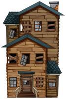 Casa de madeira velha com chaminé vetor