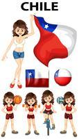 Bandeira do Chile e mulher atleta vetor