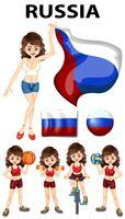 Representante da Rússia e muitos esportes vetor