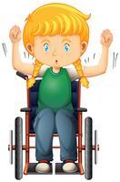 Feliz, menina, ligado, cadeira rodas vetor