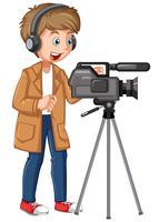 Um personagem profissional de cameraman vetor