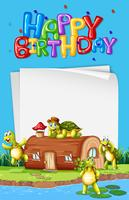 Tartaruga ao lado do modelo de aniversário de casa