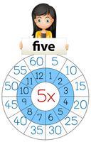 Menina, cinco, múltiplo, tabela vetor