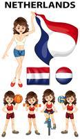 Mulher holandesa, fazendo esportes vetor