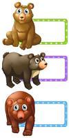 Polkadot lables com ursos vetor