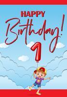 Cartão de feliz aniversário para menino de um ano de idade vetor