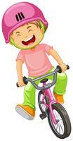 Um menino andando de bicicleta vetor