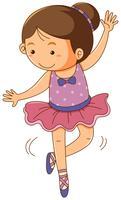 Menina com roupa de balé rosa sobre fundo branco vetor