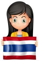 Menina, com, bandeira, de, tailandia vetor