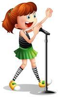 Menina, cantando, microfone vetor