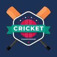 Modelo de campeonato de equipe de crachá logotipo esporte cricket vetor