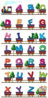 Trem carrega alfabetos ingleses vetor