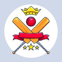 Campeonato de críquete com coroa, banner e estrelas vetor