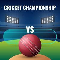 Banner de campeonato de críquete ao vivo com bola e noite estádio fundo