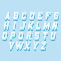 Icicles italic alphabet Conjunto de elementos de rotulação congelados
