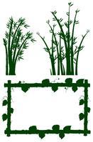 Quadro de silhueta com árvore de bambu vetor