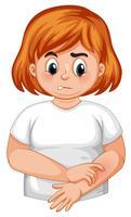 Menina, com, diabetes, itchy, pele vetor