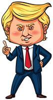 Presidente dos EUA Trump com o dedo apontando vetor