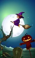 Uma bruxa andando de flor à noite vetor