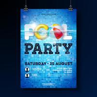 O molde do projeto do cartaz da festa na piscina do verão com água, bola de praia e flutua no fundo telhado azul. Vector feriado ilustração para banner, panfleto, convite, cartaz.