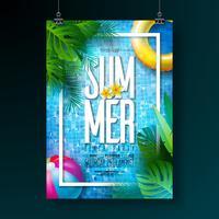 O molde do projeto do cartaz da festa na piscina do verão com água, folhas de palmeira tropicais, bola de praia e flutua no fundo telhado azul. Vector feriado ilustração