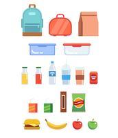 Conjunto de ilustração de lancheira - diferentes recipientes de plástico, saco de papel, garrafas, suco, água, frutas, sanduíche, mochila. vetor