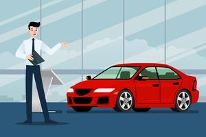 Um homem de negócios feliz, vendedor está estando e apresenta seu carro luxuoso que estacionou na sala da mostra. Projeto da ilustração do vetor.