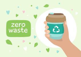Copo de café reutilizável - ilustração com letras. Estilo de vida sustentável, desperdício zero, conceito ecológico.