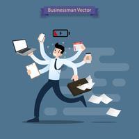 O homem de negócios corre com muitas mãos que guardam o smartphone, o portátil, a pasta, a pilha de papel, o calendário, a prancheta e o café. Trabalhador muito ocupado faz muitos trabalhos ao mesmo tempo. vetor