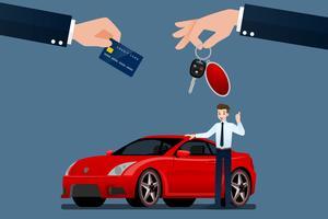 O negociante de carros faz uma troca, venda, aluguel entre um carro e o cartão de crédito do cliente. Projeto de ilustração vetorial.