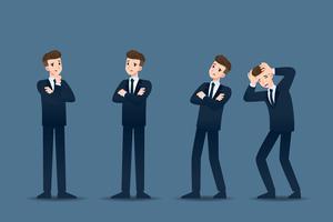 Conjunto de empresário em 4 gestos diferentes. Pessoas em caráter de negócios posam como pensar, preocupação. Projeto de ilustração vetorial.