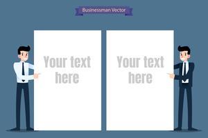 Homem de negócios no terno formal que aponta a uma folha vazia por seu dedo. Pronto para editar o modelo de texto. vetor