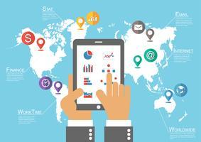 Empresário espera tablet e mapa-múndi com ponteiro de localização (vetor infográfico)