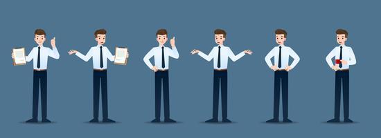 Conjunto de empresário em 6 gestos diferentes. Pessoas em caráter de negócios posam como esperar, comunicar e ter sucesso. Projeto de ilustração vetorial. vetor