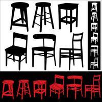 Conjunto de cadeiras e banquinhos vetor