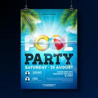 O molde do projeto do cartaz da festa na piscina do verão com água, bola de praia e flutua no fundo azul da paisagem do oceano. Vector feriado ilustração