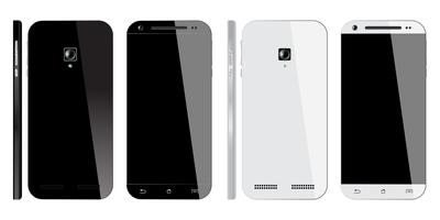 Smartphone preto e branco realista vetor