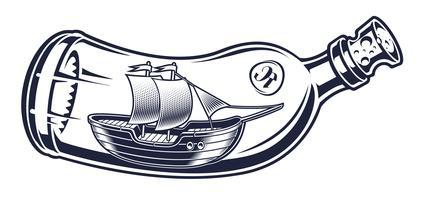 Vetorial, ilustração, de, um, garrafa, com, um, navio