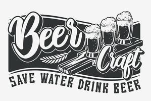 Ilustração vetorial com cerveja e letras