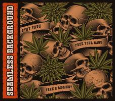 Plano de fundo sem emenda de crânios e folhas de cannabis